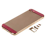 Champagene Hard Metal Alloy Back Battery Housing with Buttons and Pink Glass For iPhone 5s