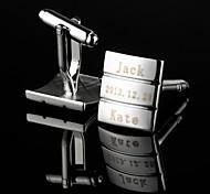 Regalo personalizzato Rettangolo Fringe Motivo argento inciso Gemelli