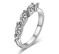 Fashion Clear Simulated Diamond Triple Rhinestone Wedding Ring