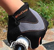 CoolChange Cycling Breathable Black+Orange Half Finger Gloves