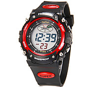 Men's Multi-Functional Digital Round LCD Rubber Band Running Sport Wrist Watch (Assorted Colors)