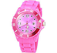 Unisex Calendar Round Dial Silicone Band Quartz Analog Wrist Watch (Assorted Colors)