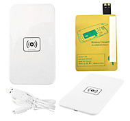 White Wireless Power Charger Pad + USB Cable + Receiver Paster(Gold) for Samsung Galaxy S4 I9500