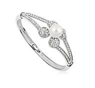1 Pc Fashion Women White  Pearl Alloy Cuff Bracelet