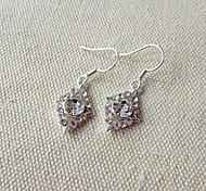 Fashionable White Zircon Silver Alloy Earrings