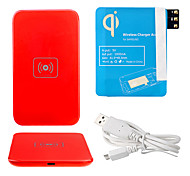 Red Wireless Power Charger Pad + USB Cable + Receiver Paster(Blue) for Samsung Galaxy Note3 N9000