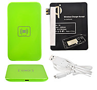Green Wireless Power Charger Pad + USB Cable + Receiver Paster(Black) for Samsung Galaxy S3 I9300