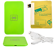 Green Wireless Power Charger Pad + USB Cable + Receiver Paster(Gold) for Samsung Galaxy S3 I9300