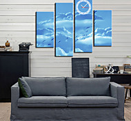 Modern Style Blue Sky Wall Clock in Canvas 4pcs