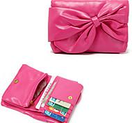 Rose Big bowknot PU & Dacron cartão 3in1 Titular / Mude a bolsa / carteira para as Mulheres