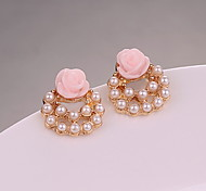 Korea Lady OL Style Rose Pearl Stud Earrings