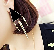 Triangle Korea-Style Personality Alloy Drop Earring(1 Pair)(Black,White,Pink)