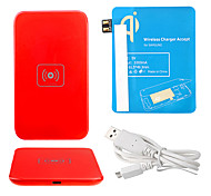 Red Wireless Power Charger Pad + USB Cable + Receiver Paster(Blue) for Samsung Galaxy Note2 N7100