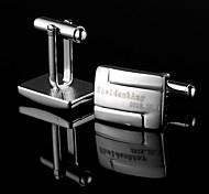 Personalized Gift Irregular Silver Engraved Cufflinks