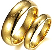 Vintage Lovers Tungsten Steel Carve Lord of Rings (Yellow)(2 Pcs)