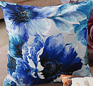 Retro Oriental Ink Painting Style Blue Blossoms Decorative Pillow With Insert