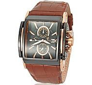 design de luxo de couro grande calendário de marcação quadrado relógio banda de pulso de quartzo dos homens