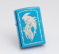 Personalized Engraved Dragon Pattern Blue Oil Lighter