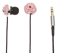 Pink Rose-Shaped Stereo In-Ear Headphone