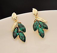 Green Leaf Gem Earrings