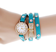 Women's Round Dial Analog Quartz Bowknot Leather Band Wrist Watch Cool Watches Unique Watches