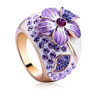 Austria Crystal Amethyst Jewelry Enamel Flower Ring\\