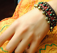 Ethnic Bells 16cm Women's Brown Fabric Friendship Bracelet(Dark Green)(1 Pc)