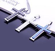 Personalizadas de los hombres regalo de la joyería del acero inoxidable de la biblia del colgante cruz grabada con 60cm Cadena