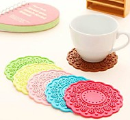 Round Flowers Silicone Coaster Cup Holder Heat Insulation Pad Candy Color Optional