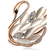 Fashion Gold-Plated Swans Cat Eye Brooch