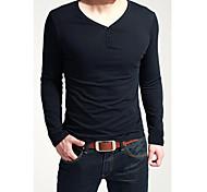 fit dois botões t-shirt de manga longa magro dos homens