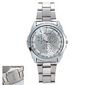 Personalized Gift  New Style Men's White  Dial  Stainless Steel Band Contracted  Analog Engraved Watch