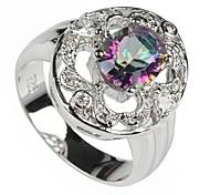 Fashion 925 rame placcato Arcobaleno anello zircone