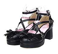 Bowknot Heart Hasp Sweet Lolita Black  PU 2.5cm High-heeled Shoes