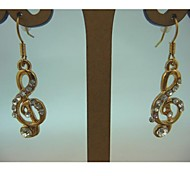 Fashion Golden Music Inlay Diamond Alloy Earring
