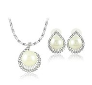 European Style Alloy Imitation Pearl Necklace Earring Jewelry Set
