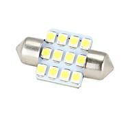 Merdia Festone 31 millimetri 12x3528SMD luce bianca a LED per Steering Car Light Bulb - (2 PCS / 12V)