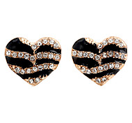 Fashion Heart Clear Rhinestone With Gold Alloy Stud Earrings (1 Pair)