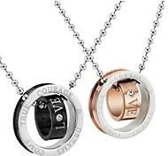 collier de mode couleur bicyclique amour en acier inoxydable couple (2 pcs)