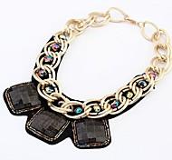 (1 Pc) doce (cadeia personalizado áspera Gems pingente de metal) Colar Pingente de Ouro Liga (Preto)