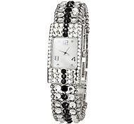 Da Mulher Diamante retângulo Dial Liga Banda Analog de quartzo pulseira relógio