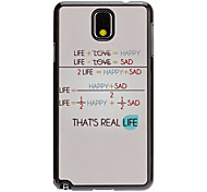 Life Formula Decal Pattern Mirror Smooth Back Hard Case for Samsung Galaxy Note3 N9000