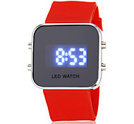 Unisex Blue LED Digital Silver Case Silicone Band Faceless Watch (Assorted Colors)