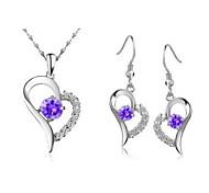 cuore in argento silver plated (collane e orecchini) set di gioielli da sposa