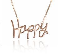 (1 PC) Europäisch (GLÜCKLICHE Brief Matte Metallhals kurzer Punkt) Goldlegierung-Ketten-Halskette (Gold)