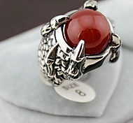 Z&X®  European Silver Alloy Dragon's Claw Men's  Red Agate Statement Rings(1 Pc)