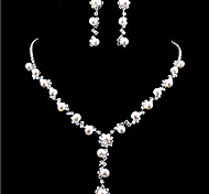 Wedding Elegant Pearl Rhinestone Crystal Earrings & Necklace Jewelry Set
