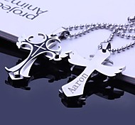 Personalized Gift Stainless Steel Jewelry  Angel Wings Shapes  Engraved Pendant Necklace with  60cm Chain