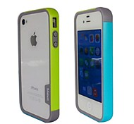 Fashion Double Color TPU Frame Bumper for iPhone4S(Yellow+Blue)