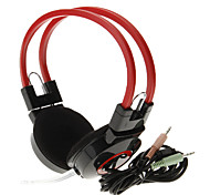 606 3.5mm Stereo High Quality On-ear Headphone Headset with Mic for Computer(Red)